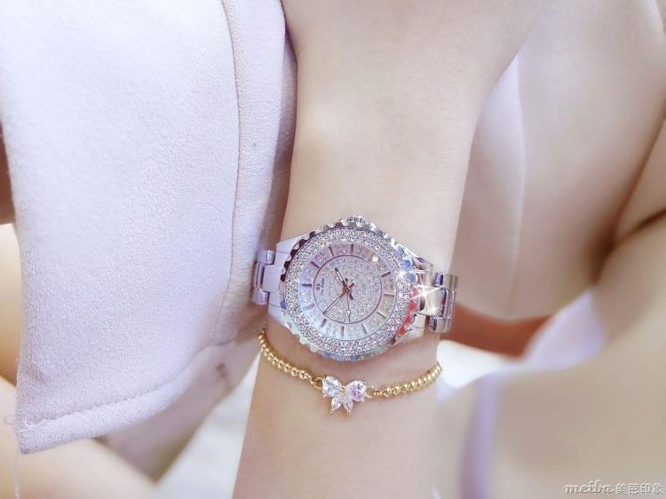 新款熱銷女士手錶鑲鑽高檔手鍊錶滿鑽女錶石英錶防水錶QM