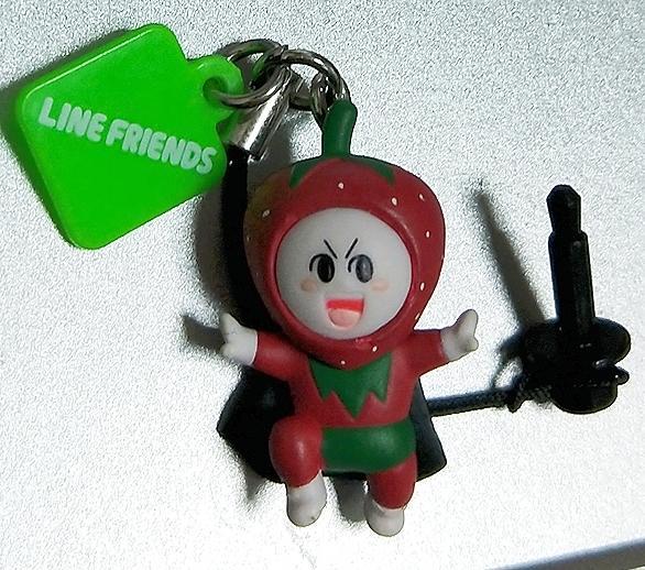 瀀 日版 絕版品 LINE FRIENDS 饅頭人 草莓裝 耳機孔塞吊飾