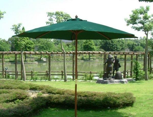 [兄弟休閒傢俱] 7尺木傘~木製遮陽傘-綠色傘布(大型 210cm)~兄弟牌戶外風情系列庭園休閒必備!!