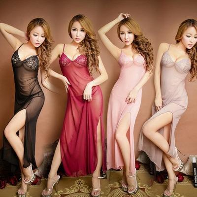 透明誘惑網紗睡衣女士情趣連體長裙睡衣套裝高薄蕾絲深V吊帶睡裙