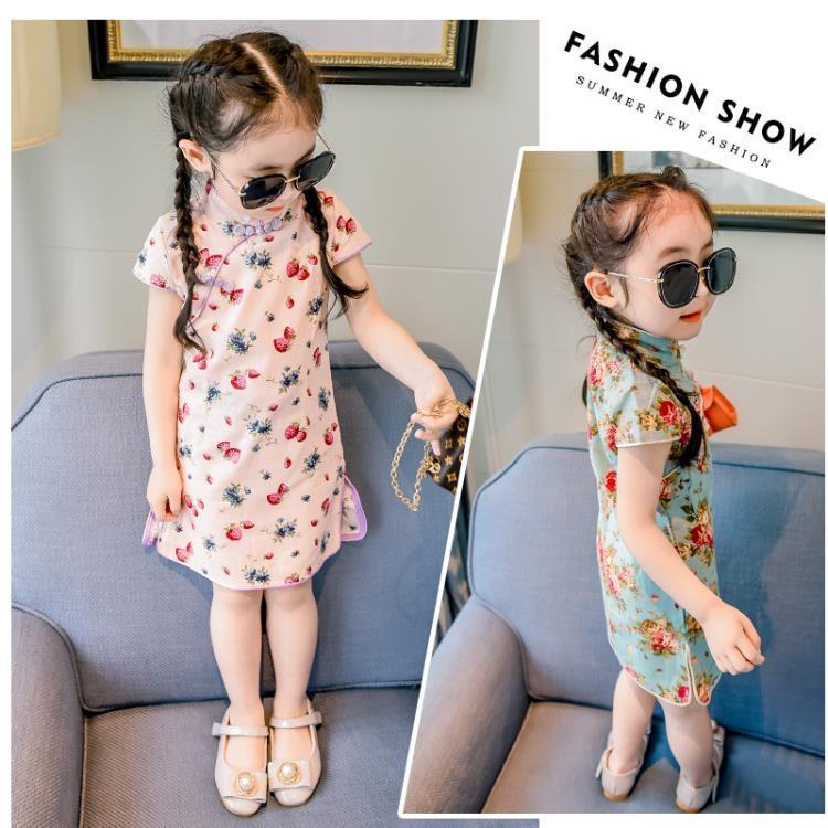 女童連身裙夏季童裝新款兒童洋氣裙子1-3歲5夏裝女寶寶旗袍公主裙【潮咖地帶】