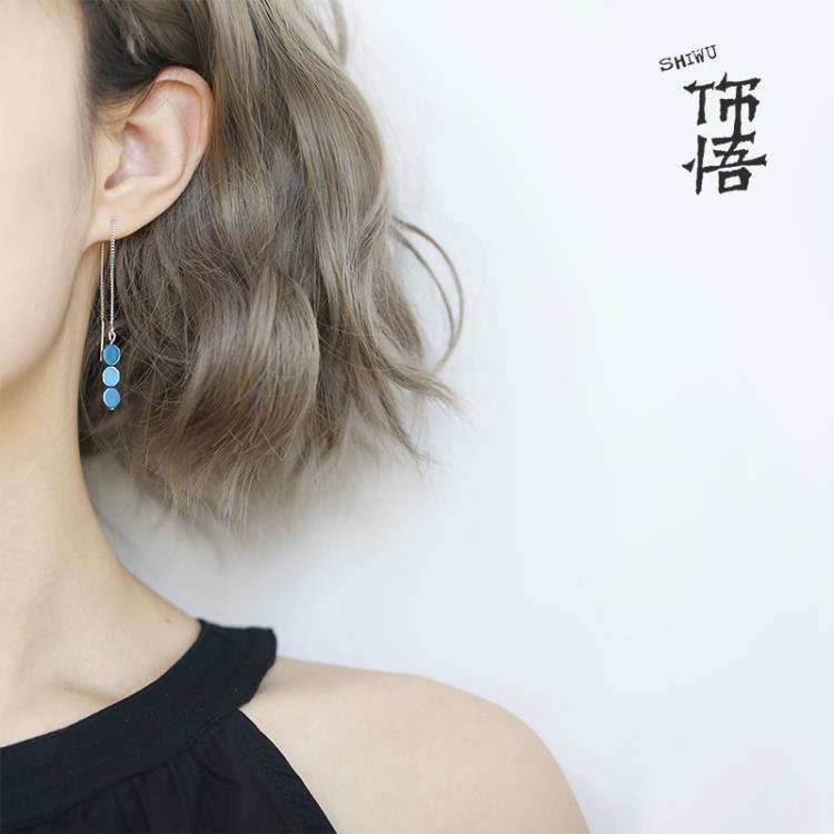 飾悟 耳線純銀耳墜女氣質韓國簡約百搭 耳環女長款吊墜耳釘女耳飾【潮咖地帶】