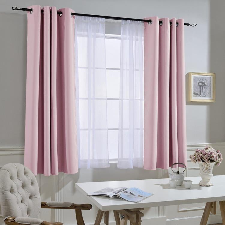 遮陽窗簾成品遮光現代簡約臥室客廳平面窗落地窗飄窗防曬隔熱短簾--脆殼蟹