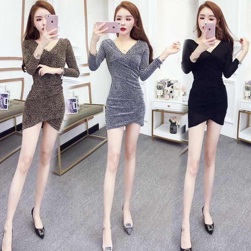 春氣質款秋女裝韓版風小個子性感低胸V領修身顯瘦包臀裙軟妹洋裝連衣裙
