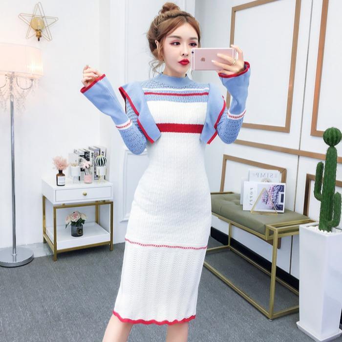 早氣質款秋新款韓版打底裙流行裙子女修身顯瘦長裙中長款針織洋裝連衣裙