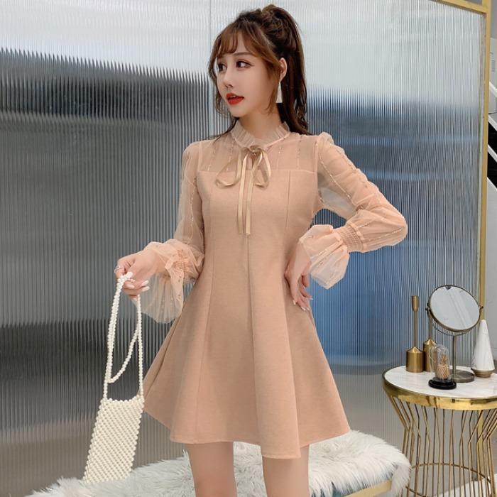 裙子女秋冬氣質款法式小個子a字裙打底裙網紗喇叭袖拼接呢料洋裝連衣裙