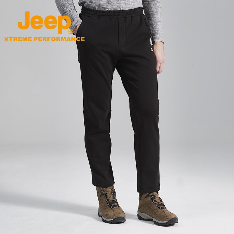 潮牌先鋒Jeep吉普秋季款黑色休閑褲男褲子男褲長褲寬松修身潮流百搭韓版