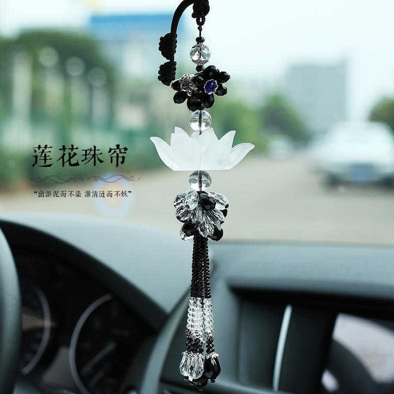 汽車創意琉璃蓮花掛件男保平安女車內車載後視鏡飾品水晶吊墜用品
