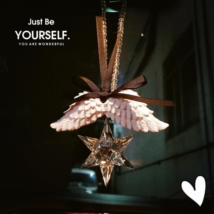 汽車飾品水晶流星錘掛飾雪花水晶後視鏡吊墜天使翅膀石膏香水掛件