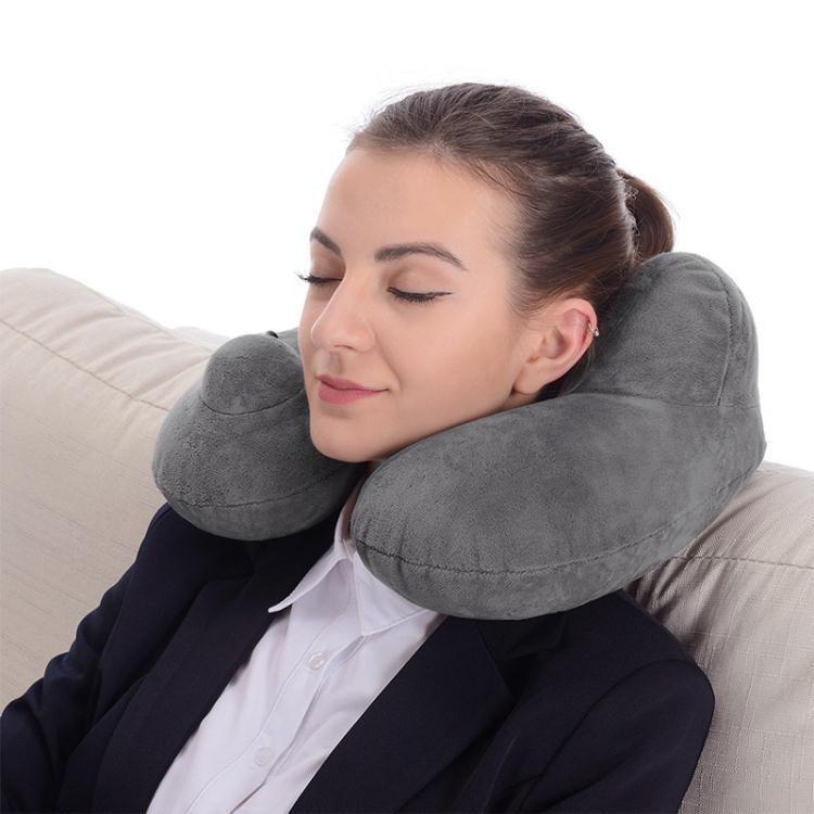 按壓自動充氣u型枕頭旅行護頸椎脖枕駝峰拆洗飛機靠枕便攜充氣枕