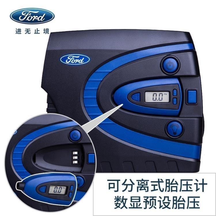 福特車載充氣泵 預設胎壓打氣泵汽車12V便攜式智慧數顯電動充氣機 igo