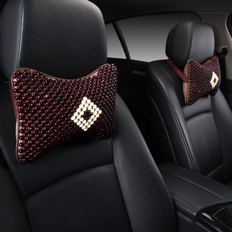 汽車夏季靠枕護頸枕頭車用座椅頸椎枕菩提子內飾用品四季木珠頭枕