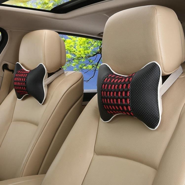 新款汽車坐墊頭枕冰絲枕頭一對裝四季骨頭枕靠枕脖子小車用護頸枕