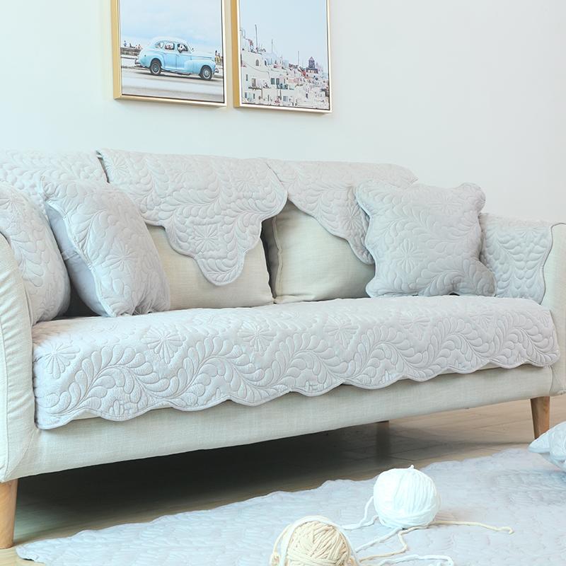 北歐冬季簡約現代短毛絨沙發墊坐墊布藝法蘭絨沙發套巾罩防滑定做/下單後6-8天收到