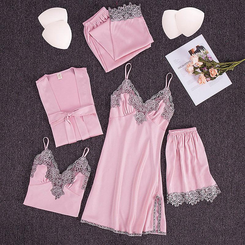 耀婷睡衣女春夏性感睡衣五件套緞面雪紡外袍吊帶睡裙帶胸墊家居服