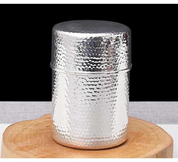 【 大 圓罐子 純銀999】純手工製作 足銀 茶葉罐 收納盒 珠寶盒 密封储藏罐 終生保真 皇家典藏