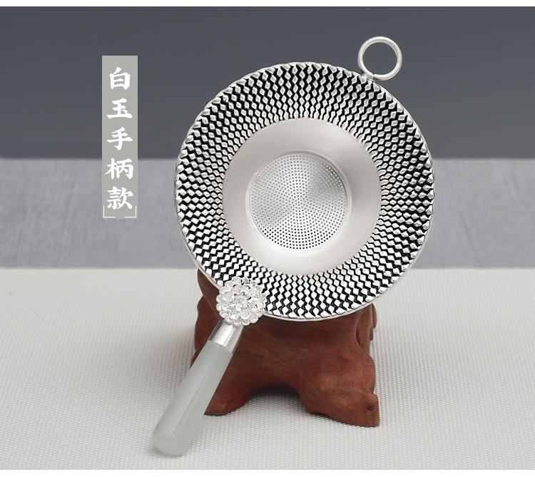 【白玉 碧玉 高密度茶漏器】一只1695元手工製作 純銀足銀999 茶杯茶海 煮茶壺燒水壺 非宜興紫砂壺紅泥 皇家典藏