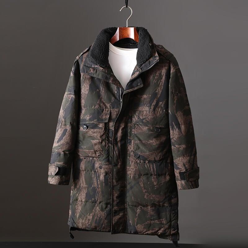 品質保證冬季男士迷彩羽絨服冬裝中長款保暖加肥加大碼外套大號加厚防寒服