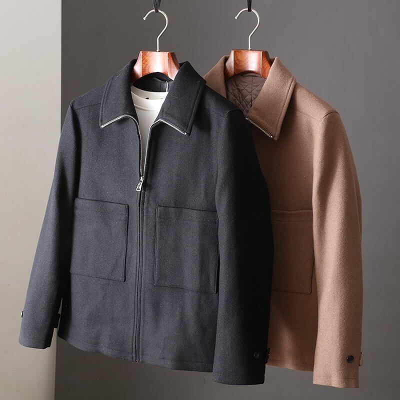 品質保證日系簡約休閑風秋冬新品工裝翻領呢子外套男青年純色百搭毛呢大衣