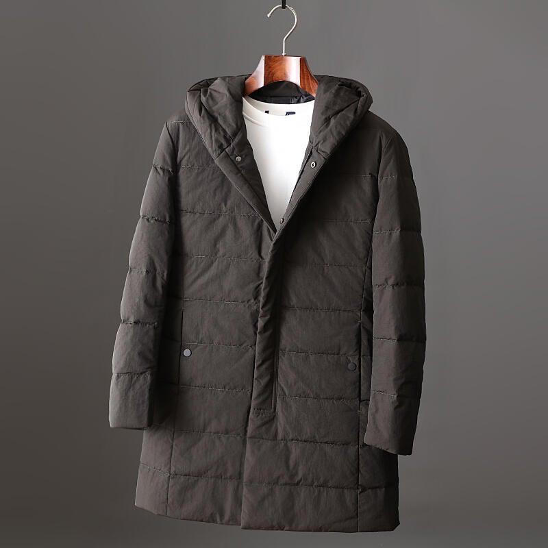 品質保證大廠剪標連帽中長款羽絨服,90%白鴨絨休閑純色爸爸裝鴨絨服保暖