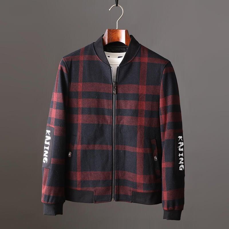 品質保證韓版時尚簡約休閑格紋棒球領呢子外套秋冬新品修身帥氣夾克上衣男