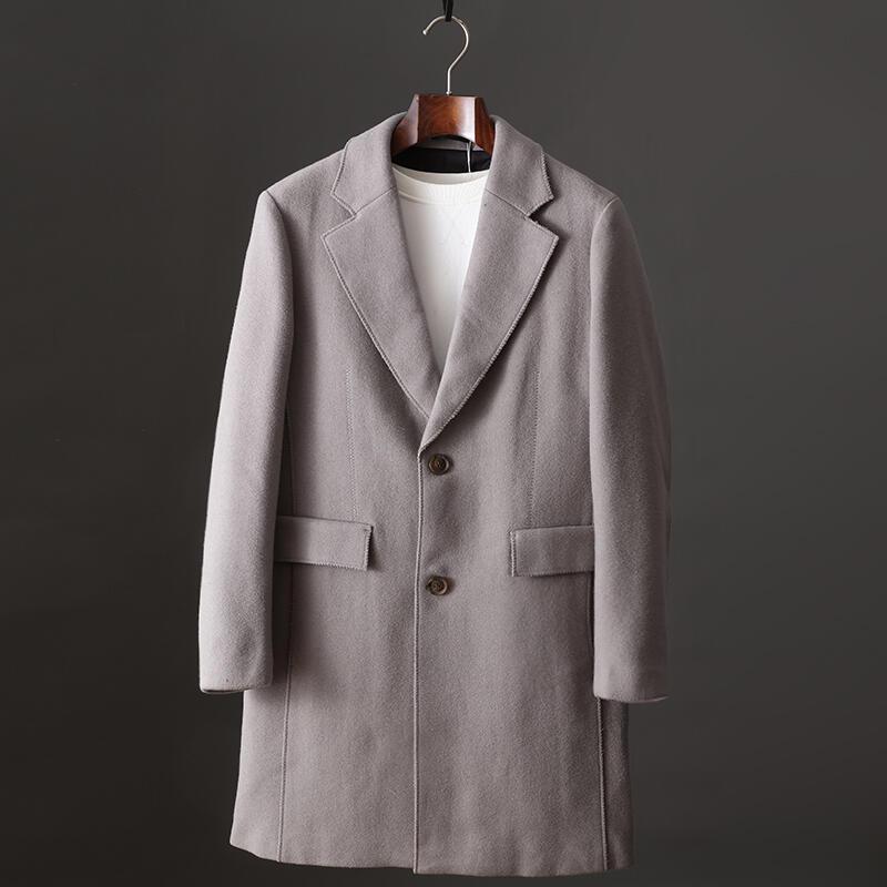 品質保證韓版歐巴風帥氣翻領羊毛毛呢大衣男青年秋冬新品修身中長款外套潮