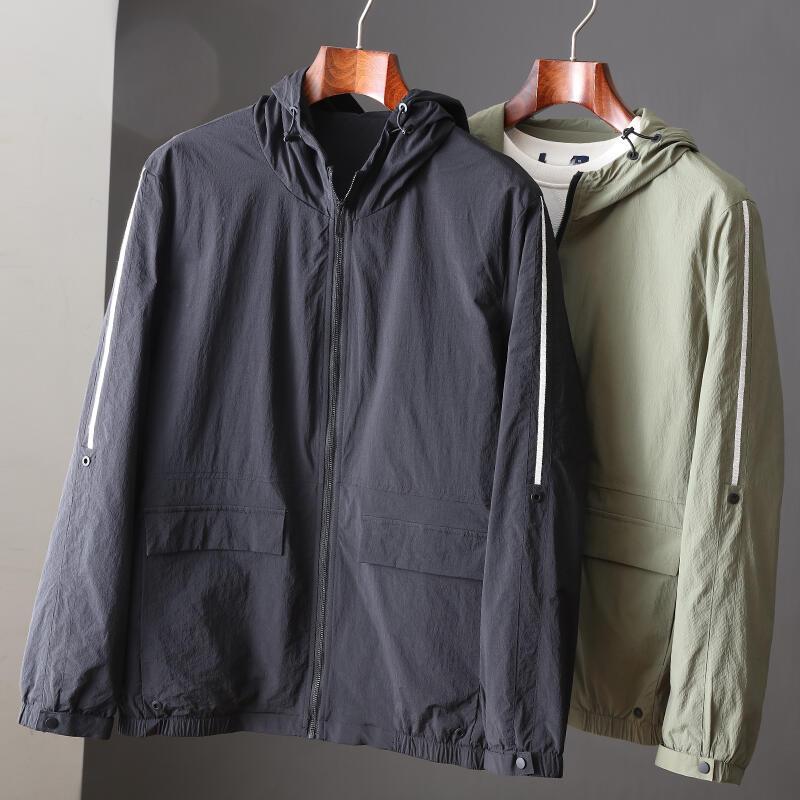 品質保證春季新品簡約純色連帽夾克大廠J標修身舒適凈色工裝風外套上衣潮