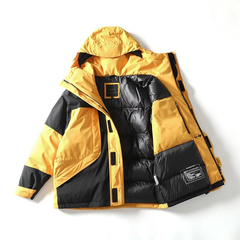品質保證750蓬厚款90絨 戶外經典1990撞色拼接防風防水連帽羽絨服沖鋒衣男