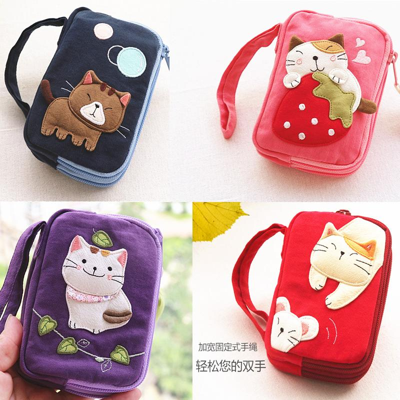 進口 可愛貓咪卡通棉布藝女士鑰匙包卡包零錢包隨身包