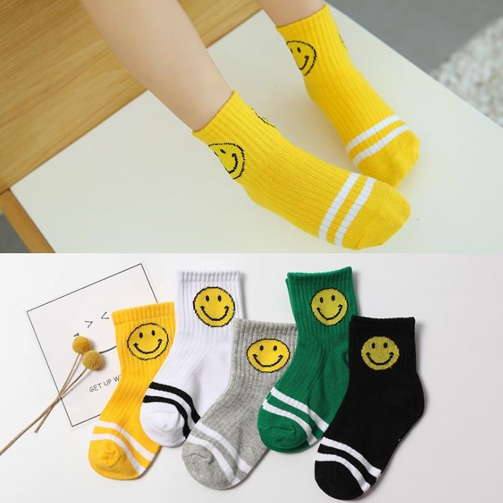 *大小襪子館 *☆五双 笑臉純棉透氣兒童襪【0057】優質棉男女兒童運動短襪