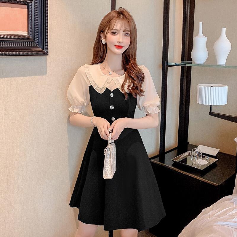 娜娜2021年夏季新款設計感洋氣減齡娃娃領泡泡袖甜美修身顯瘦連衣裙女