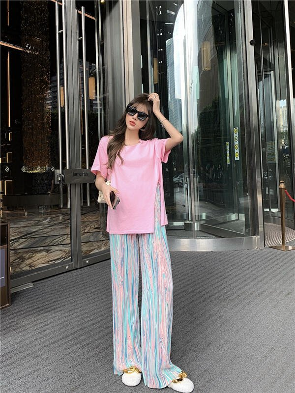 娜娜網紅炸街套裝女2021年夏季新款開叉短袖t恤高腰休閑闊腿褲兩件套