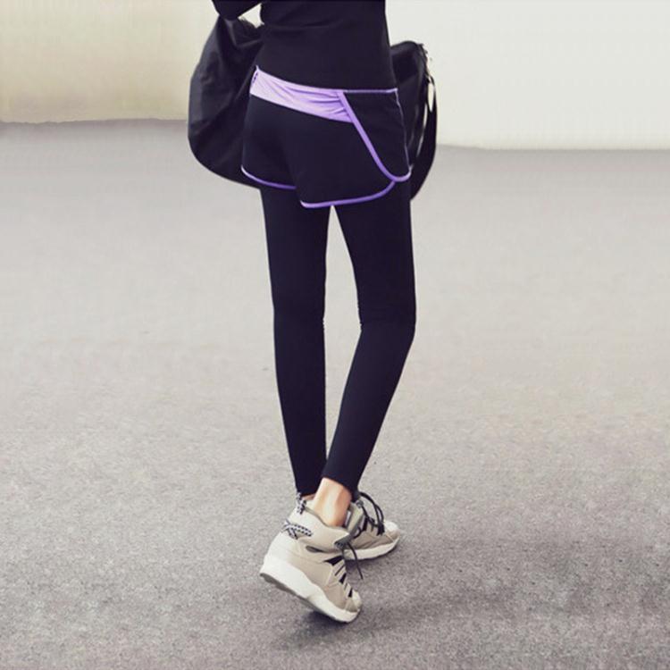 運動褲女-假兩件緊身瑜伽褲女透氣速干跑步健身褲運動褲九分長褲【時光軌跡】