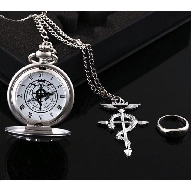 現貨!鋼之鍊金術師 懷錶 戒指 項鏈 三件套裝