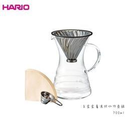 HARIO v60白金金屬濾杯咖啡壺組 700ml 耐熱玻璃 咖啡壺 v60濾杯 附濾紙40枚