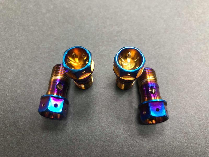 POSH 白鐵鍍鈦螺絲 外六角油管螺絲P1.0 油管螺絲P1.25/Brembo總泵油管螺絲/原廠總泵油管螺絲