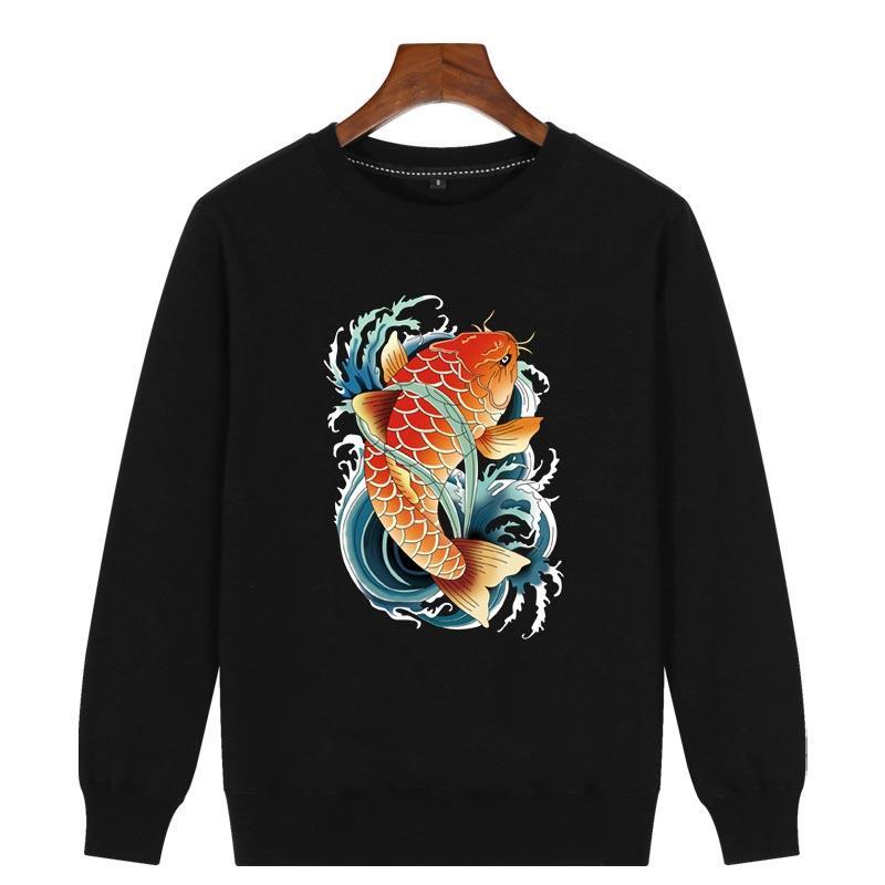 中國風鯉魚圖案復古民族風印花套頭潮牌衛衣男春秋季反光大碼衣服