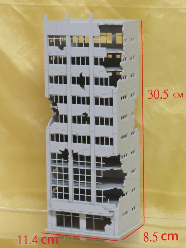 [熊貓] 預購  1/100 戰損建築  10層大樓   模型 戰爭 場景用