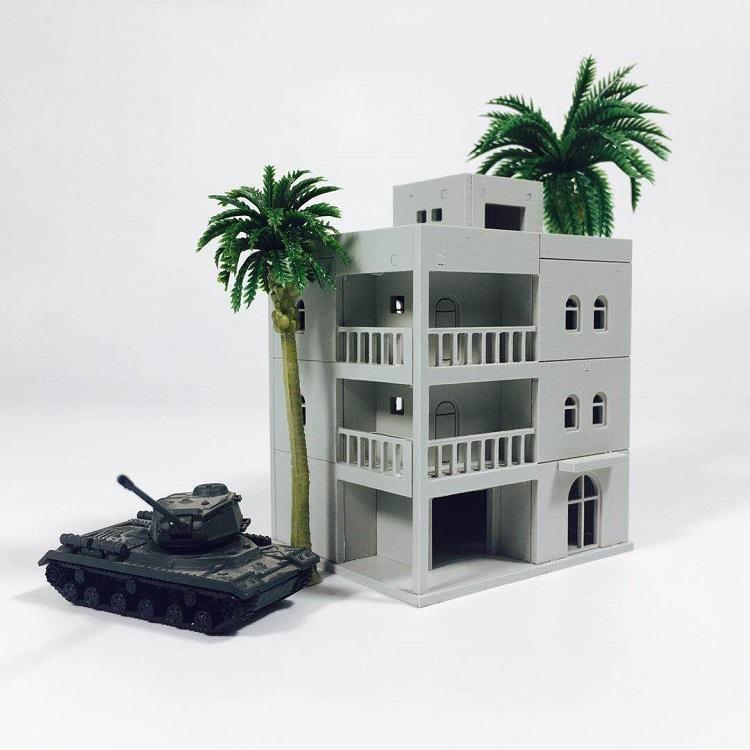 停產  西式洋樓1  約1/144  檢索: 模型場景 鐵道場景