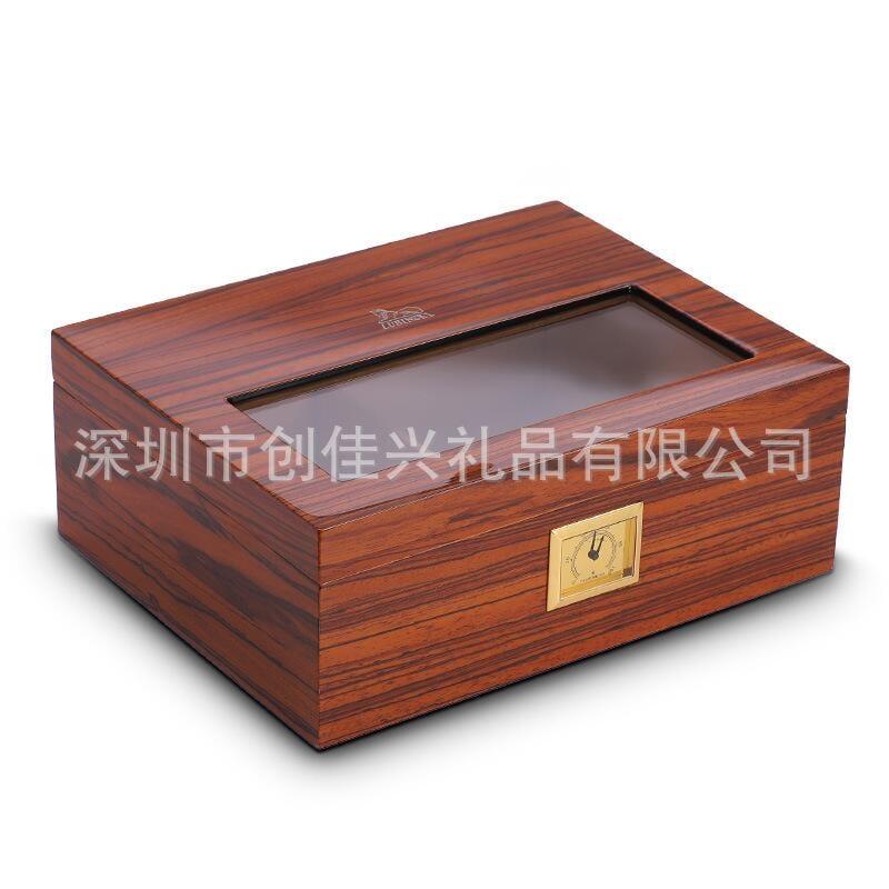 LUBINSKI魯賓斯基雪松實木雪茄煙盒香柏木木紋烤漆可視雪茄保濕盒