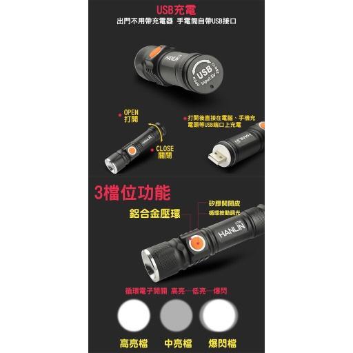 HANLIN UT6 隨身迷你強光手電筒 鋁合金工作燈 伸縮變焦 USB充電 免電池 露營 居家檢修 釣魚 腳踏車燈