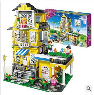 益智邦寶塑料時尚拼裝 創意積木 浪漫滿屋拼插玩具1100片8368
