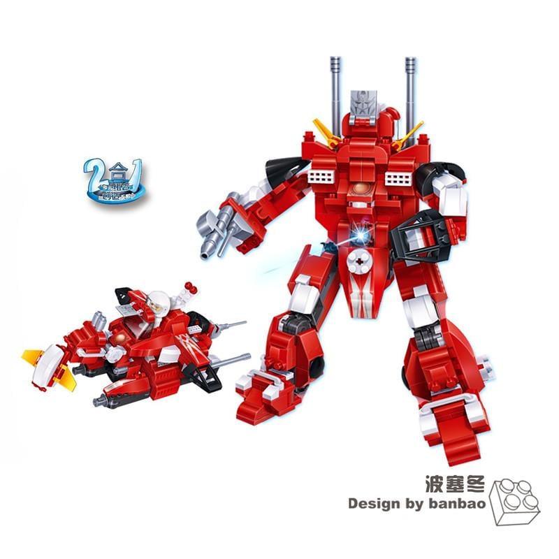 小顆粒邦寶創意拼插積木益智兒童爆款教玩具百變機器人波塞冬6302
