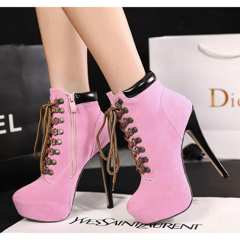歐美新款 圓頭馬丁靴 高幫繫帶絨面女短靴 時尚交叉綁帶踝靴 純色素面高跟靴 性感細跟夜店鞋