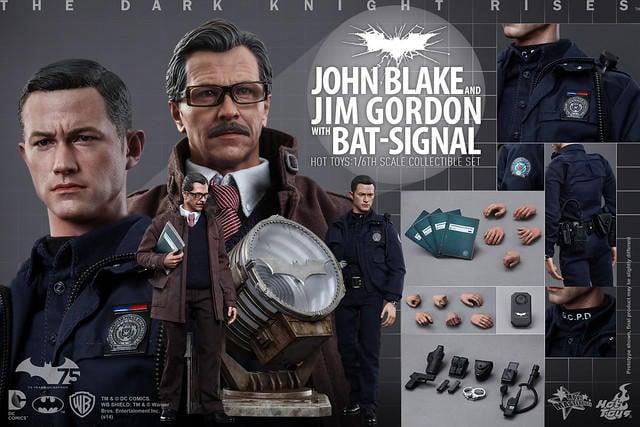 Hot Toys - MMS275 - 《黑暗騎士:黎明昇起》1/6比例 約翰‧布萊克與吉姆‧高登 & 蝙蝠探照燈 套裝