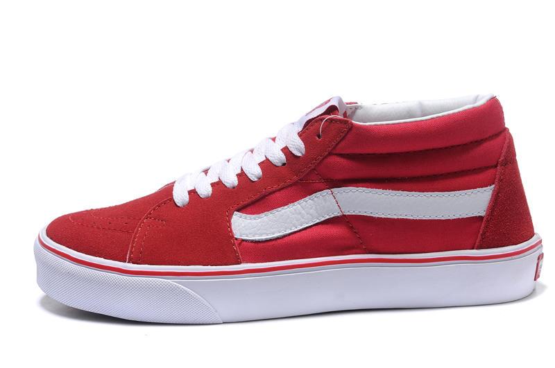 Vans Old Skool Mid 男女鞋 紅白 中筒 經典款 舒適 休閒鞋