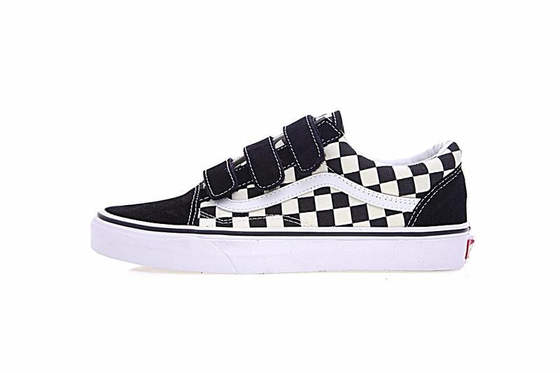 Vans Old Skool V CL 男女鞋 黑白 棋盤格子 魔術貼 舒適 帆布 休閒鞋