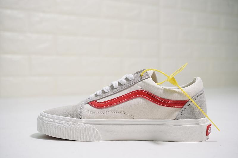 Vans Old Skool 男女鞋 復古 米白紅 經典 百搭 舒適 低筒 休閒鞋