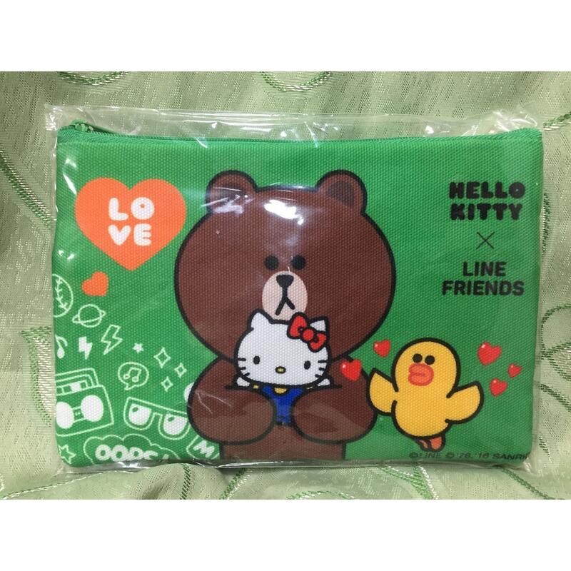 正版授權 HELLO KITTY x LINE FRIENDS 熊大 筆袋 鉛筆盒 綠色款 / 紅色款