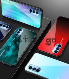 OPPO Reno4 Pro  Reno4 手機殼 極光漸變 鋼化玻璃殼 軟矽膠 全包邊 防摔 潮牌 彩繪 網紅 新款